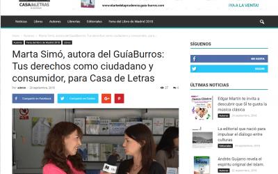 La autora del GuíaBurros: Tus derechos como ciudadano y consumidor, Marta Simó, en Casa de Letras