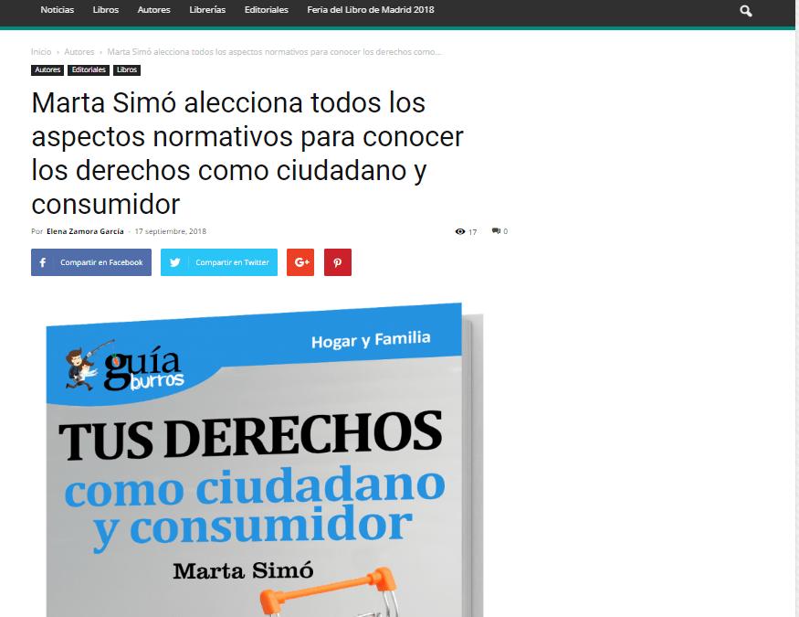 Casa de Letras se hace eco del GuíaBurros: Tus derechos como ciudadano y cosumidor de Marta Simó